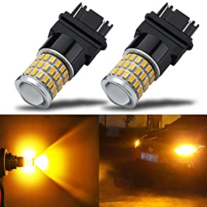 iBrightstar Newest 9-30V Super Bright Low Power 3156 3157 3057 4157 LED Bulbs with Projector Lenses Replacement for Front/Rear Turn Signal Blinker Lights or Brake Tail Parking Lights, Amber Yellow