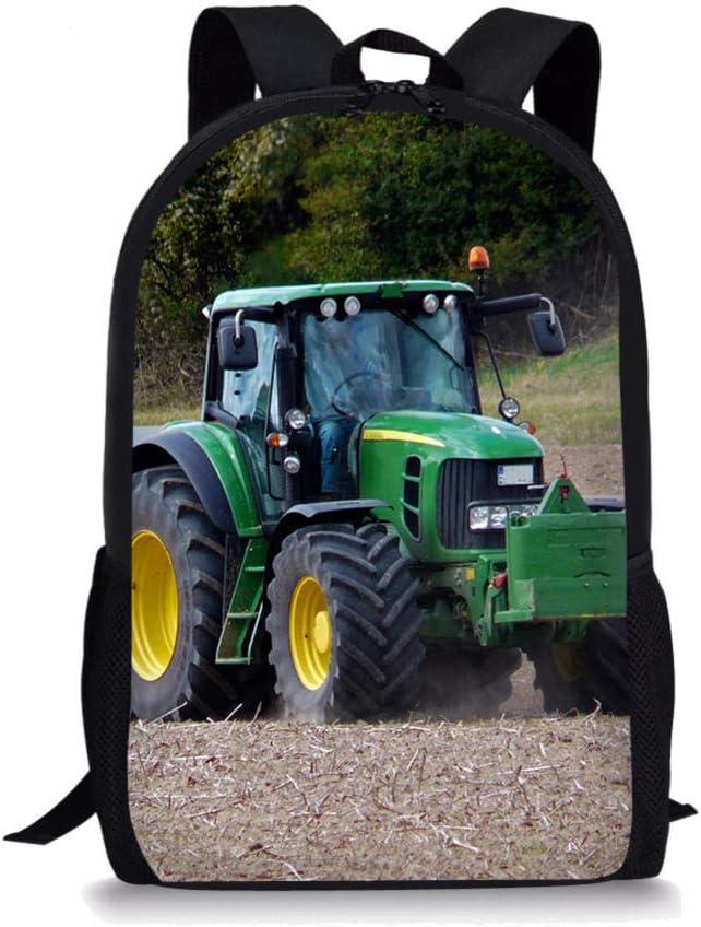 Sac /à Dos pour Ordinateur Portable pour Jeunes Grand Sac d/école de Tracteur de Ferme,Cartable d/école /él/émentaire Impression des Terres arables de la Ferme