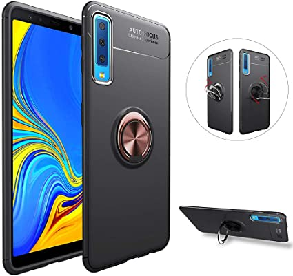 Coque Samsung Galaxy A7 A750 2018 Anneau Doigt de Maintien Bague Support Bequille Souple Silicone Anti-Choc Magnétique Arriere Moto Voiture Etui ...