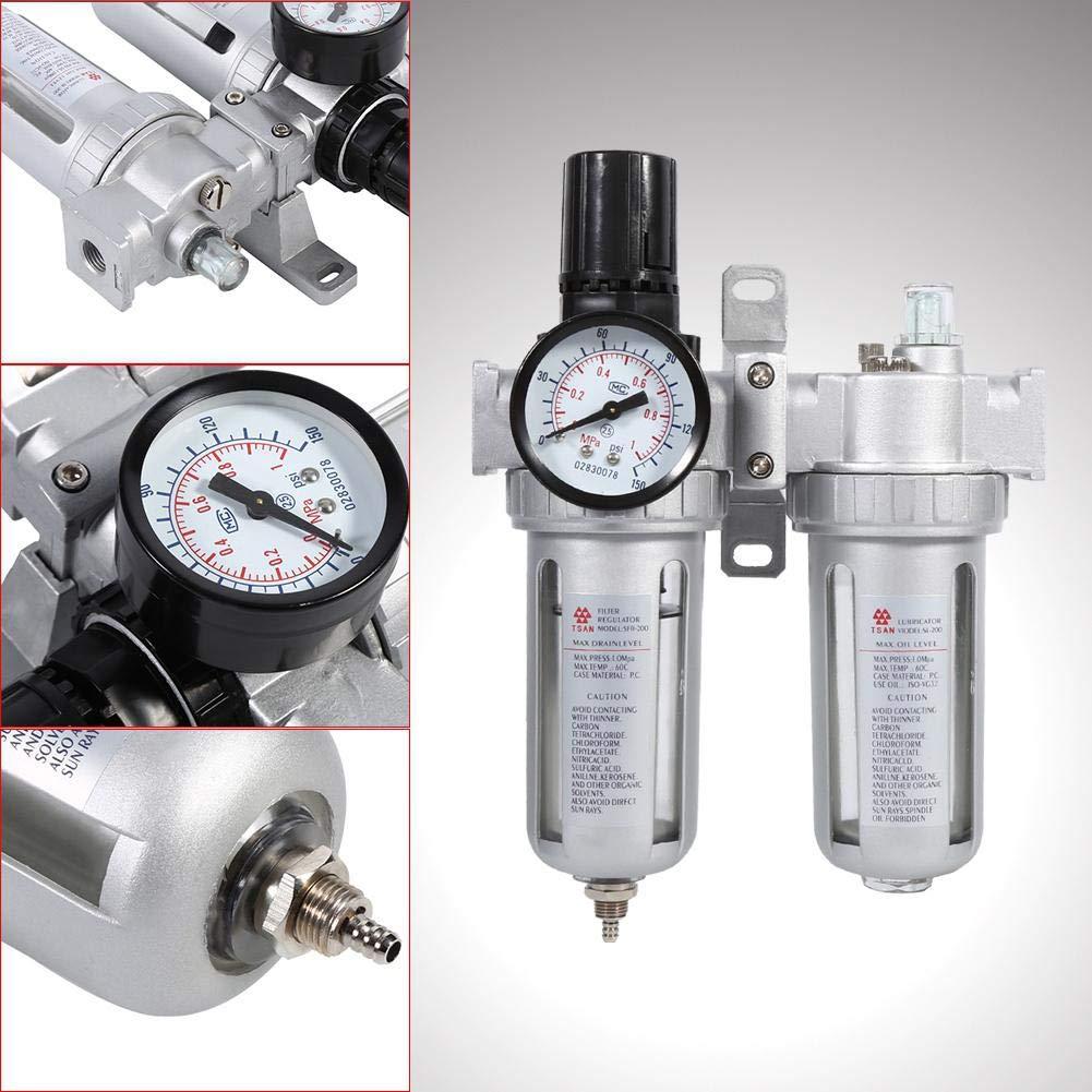 Betriebsdruck f/ür Kompressor Druckminderer Druckluftregler Filterregler 1//4 Wartungseinheit 1Mpa max Wasserabscheider