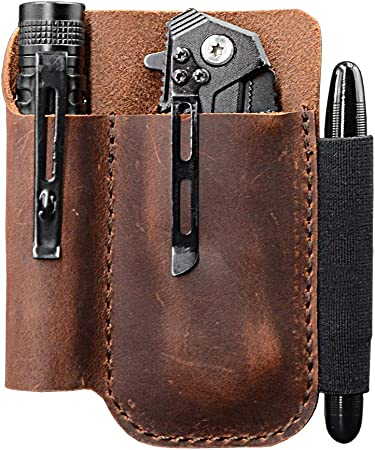 Amazon.com: Bolsa de bolsillo de cuero EDC, organizador de ...