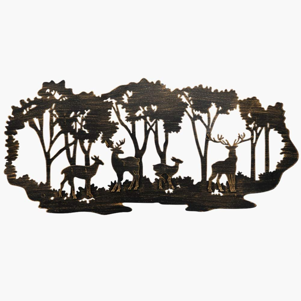 Juegoal Metal Wall Art-Deer in The Forest Wall Decor Hanging for Living Room, Bedroom, Bathroom Indoor Outdoor, 21 x 20 Inch