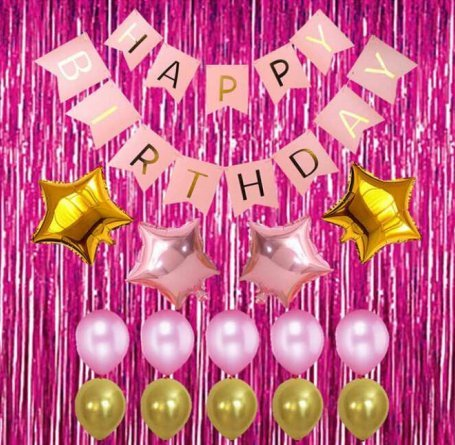 Gold and Pink Happy Birthday Banner Party Set Shiny Gold Star and Pearl Latex Balloons Party Decorations Kit Event Prom Supplies Celebration Essentials Holiday Accessories Photoshoot Backdrop Items]()