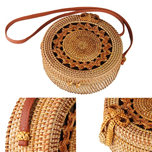 Partrisee Rattan Shoulder Tote bag Round Straw Crossbody bag Handwoven by Bali Artisans for Women by Partrisee (Image #3)