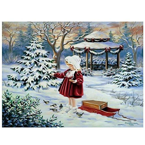 Whitelotous Red Clothes Girl Diamond Painting Embroidery DIY