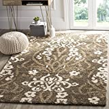 Safavieh Florida Shag Collection SG457-7913 Smoke and Beige Square Area Rug (6'7″ Square)