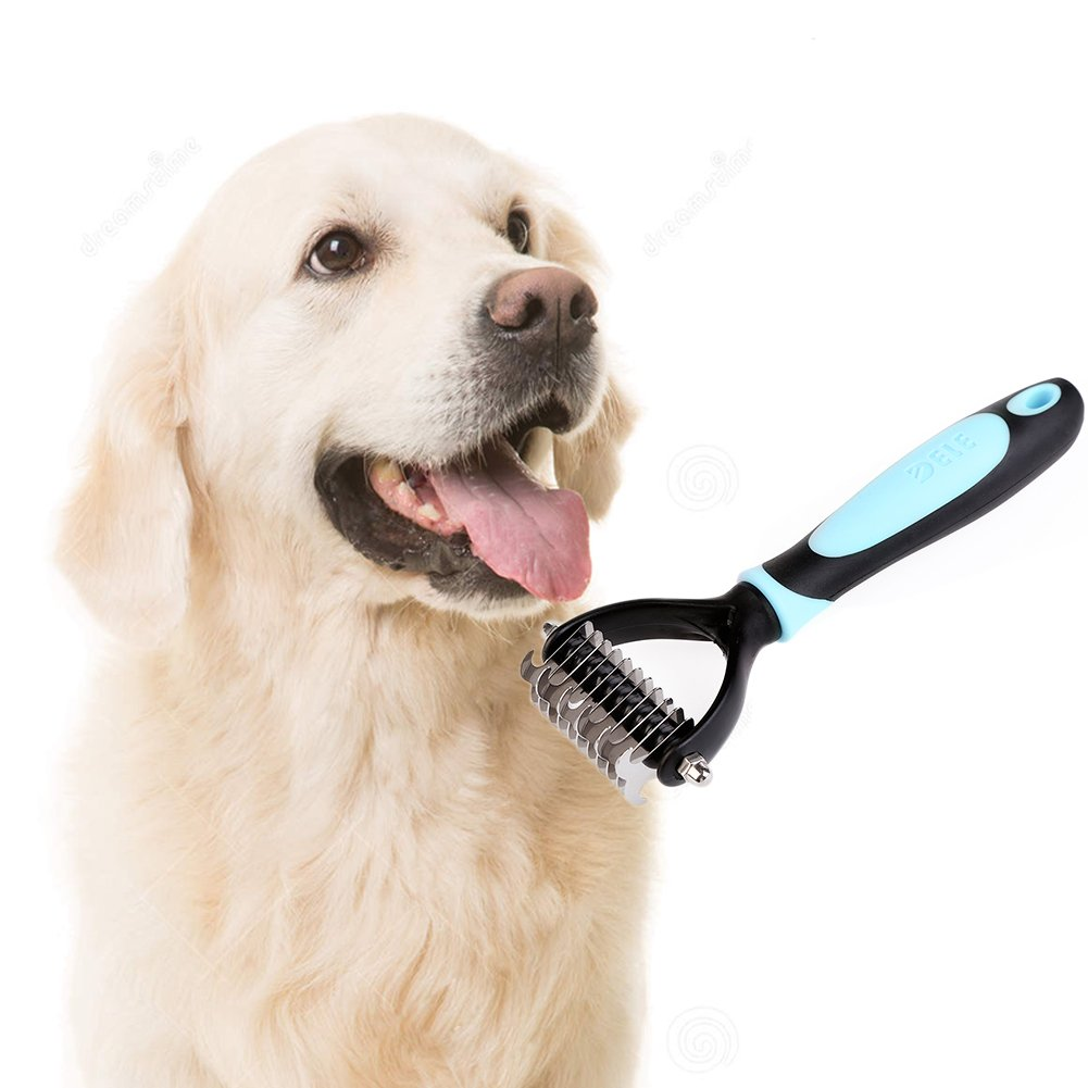 Nina@Store Professional Dematting Comb Rake - Dual Sided Mat Brush Splitter - for Dogs, Cats, Rabbits, Any Long Haired Breed Pets