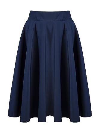 Persun Women's Black Basic Flared High Waist Midi Skater Skirt at ...