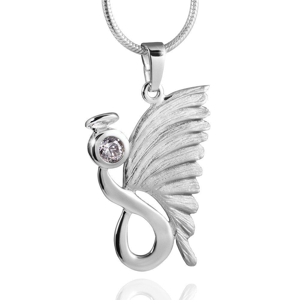 Flügel Box MATERIA 925 Silber Zirkonia Anhänger Engel mit Heiligenschein