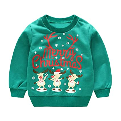 fcac7c90fa4b Amazon.com  Iuhan Baby Christmas Tops Outfit for 1-4Years Boys Girls ...