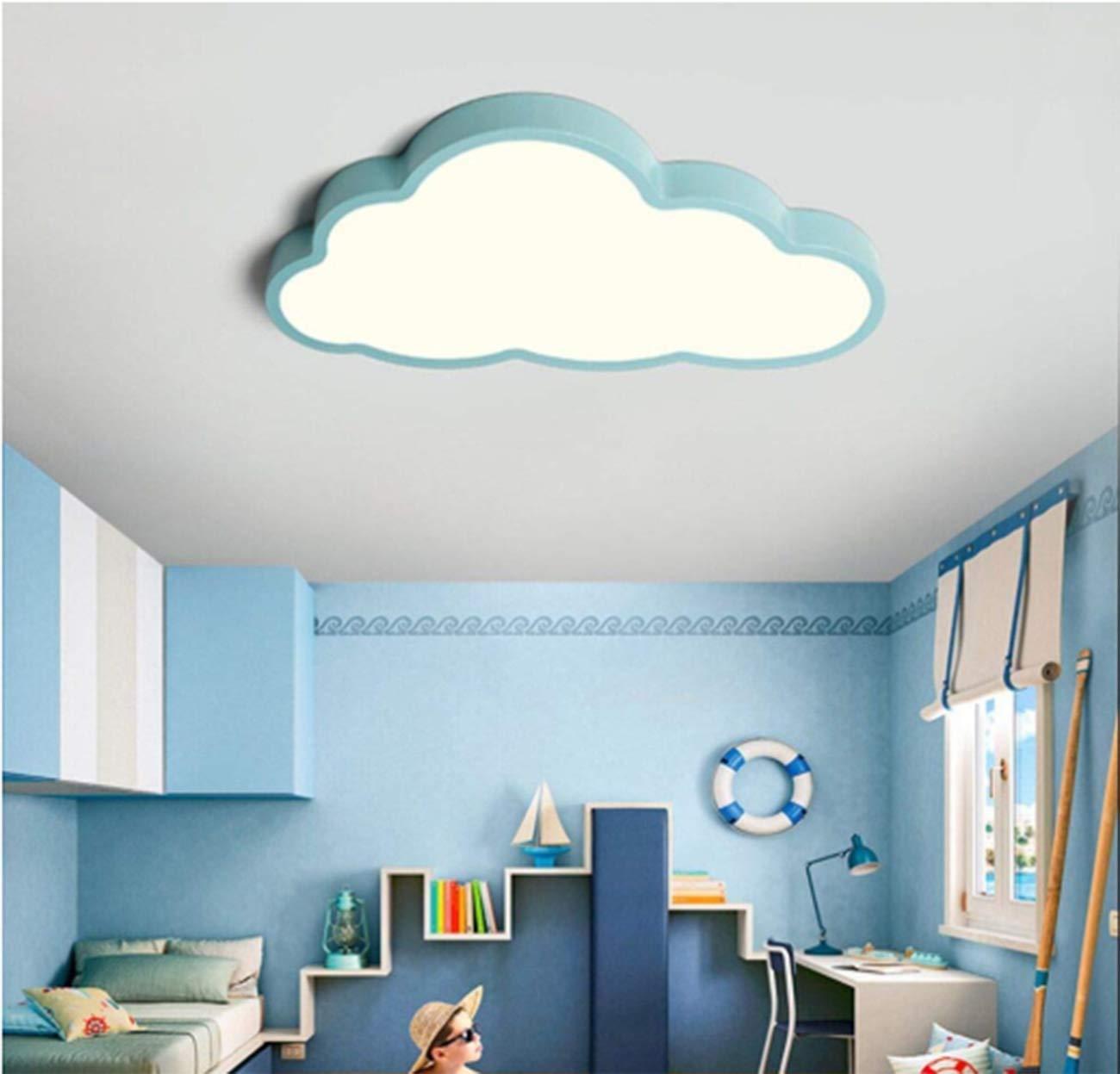 habitaci/ón 50 * 28 cm Led Plaf/ón en forma de nube Iluminaci/ón de techo Regulable con mando 36W Luz blanca, Borde azul luz de techo para ni/ños ultrafino 5 cm sal/ón l/ámpara de dormitorio
