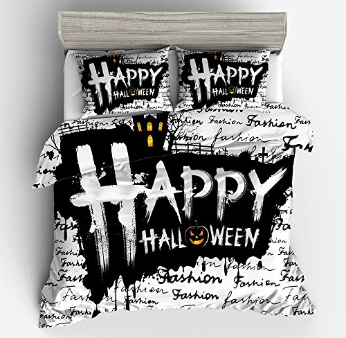 Excellent Happy Black Halloween Cotton Microfiber 3pc 104''x90'' Bedding Quilt Duvet Cover Sets 2 Pillow Cases King Size by DIY Duvetcover