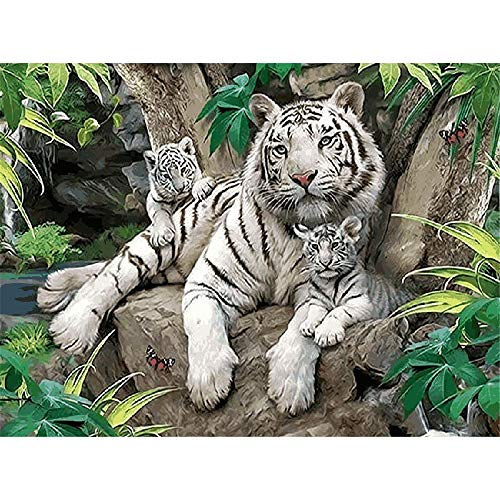 Jigsaws Puzzles 1000 Pieces for Kids White Tiger Wood Toys Fun Games Art Decoration Olds Educational Toy for Kids and Adults ()
