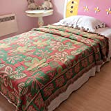 MeMoreCool Beautiful American Countryside Stylish 100% Cotton Knitting Thicken Blanket,Floral Multi-Usage Fringed Cover Blankets,Gifts for Family,Maple Leaf,91''98''