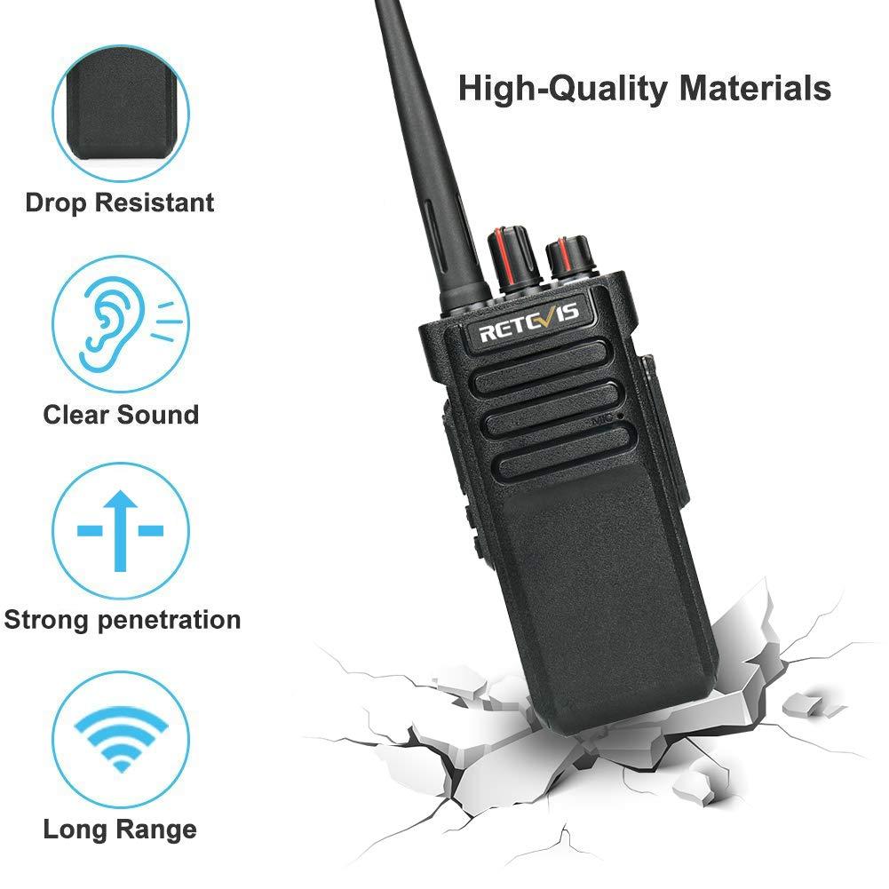 Retevis RT29 2 Way Radios Waterproof UHF 3200mAh High Power Rechargeable Security Scrambler Alarm Military Standard Long Range Walkie Talkies with Programming Cable FA9140CX5-J9131P Black, 5 Pack
