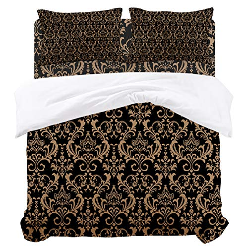 Duvet Cover Sets - Graphic with Classic Floral Ornaments Print Bronze 4 Piece King Bedding Sets Soft Microfiber Bedspread Comforter Cover and Pillow Shams for Adult/Children/Teens