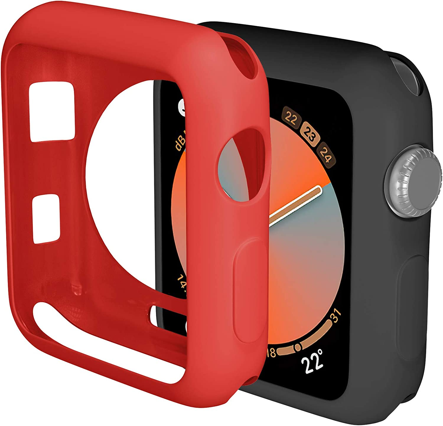 ZAROTO 44mm Case Compatible for Apple Watch Series 6 5 4, 2pack Screen Protector for Apple Watch SE, 44mm iwatch Bumper Protective Cover Soft Flexible TPU Lightweight Women Men (Black/Red)