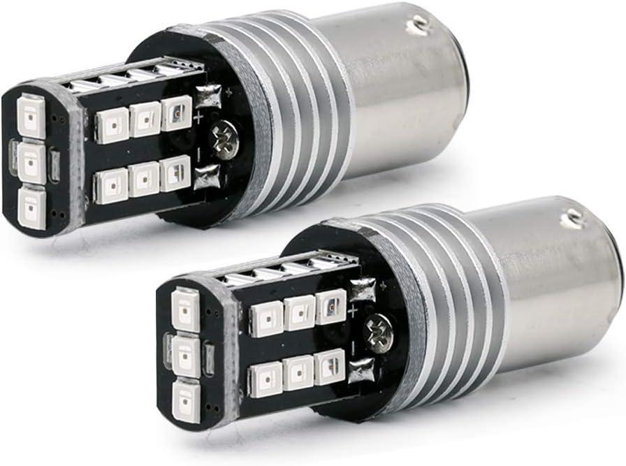 Syneticusa Red Flashing Strobe Blinking Rear Alert Safety Brake Tail Stop High Power LED Light Bulbs (1157)