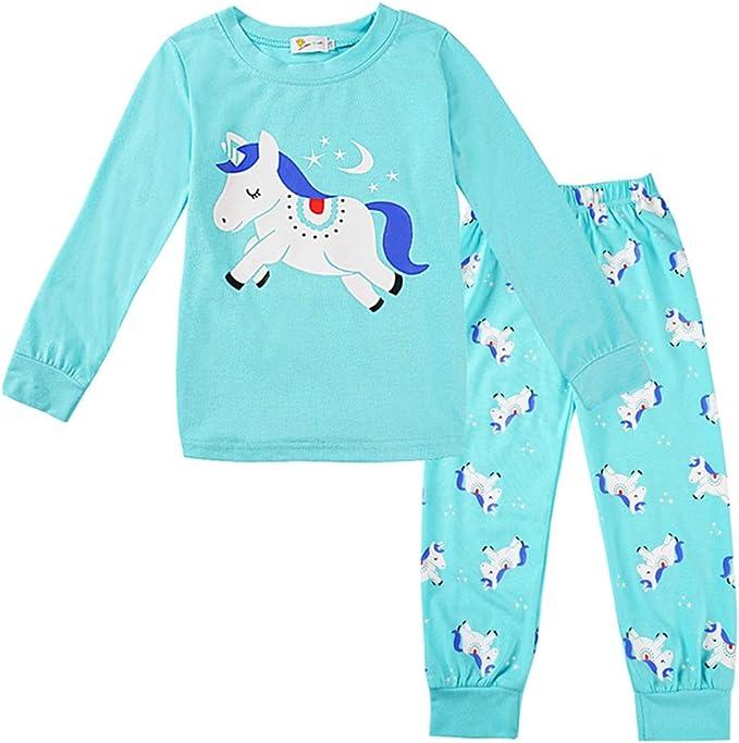 Chickwin Pijamas para Niños Dos Piezas Navidad, Rosa Niña Algodón Larga Manga Pijama Lindo Unicornio Impresión Ropa de Dormir con Top y Pantalones: Amazon.es: Ropa y accesorios