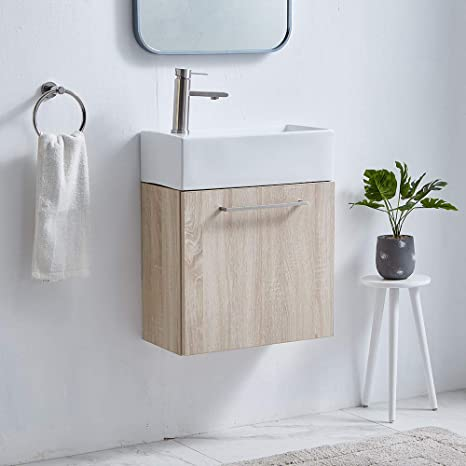 Amazon Com 18 9 Inch Modern Grey Wood Grain Small Wall Mounted Bathroom Vanity Mini Bathroom Cabinet With Ceramic Sink For Small Bathroom Bathroom Vanity Set With Faucet And Drain Kitchen Dining