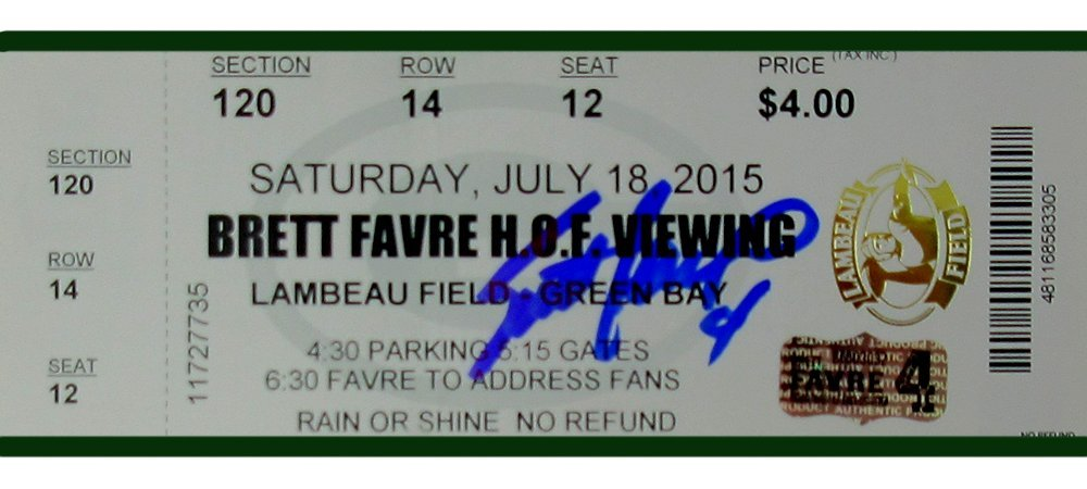 Brett Favre Autographed/Signed Green Bay Packers Hall of Fame Lambeau Field Viewing Ticket Radtke Sports