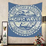 Gzhihine Custom tapestry Modern Tapestry Pacific Waves Surf Camp and School Hawaii Logo Motif with Artsy Effects Design for Bedroom Living Room Dorm 60 W X 40 L Khaki Slate Blue