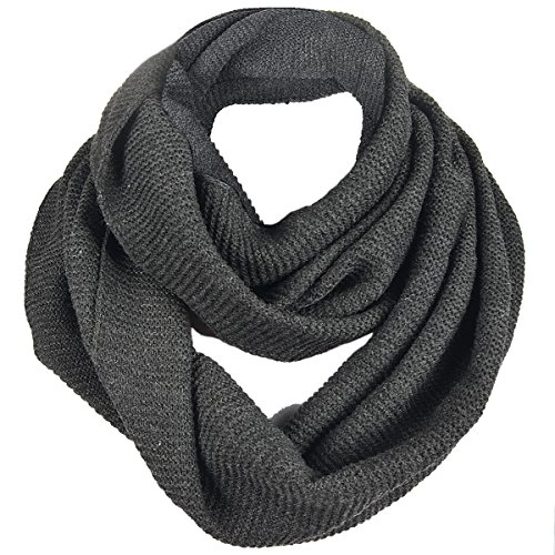 Long Cable Knit Scarf (FORBUSITE Stylish Men Cable Soft Knit Infinity Scarf (E5081b-Charcoal Gray))