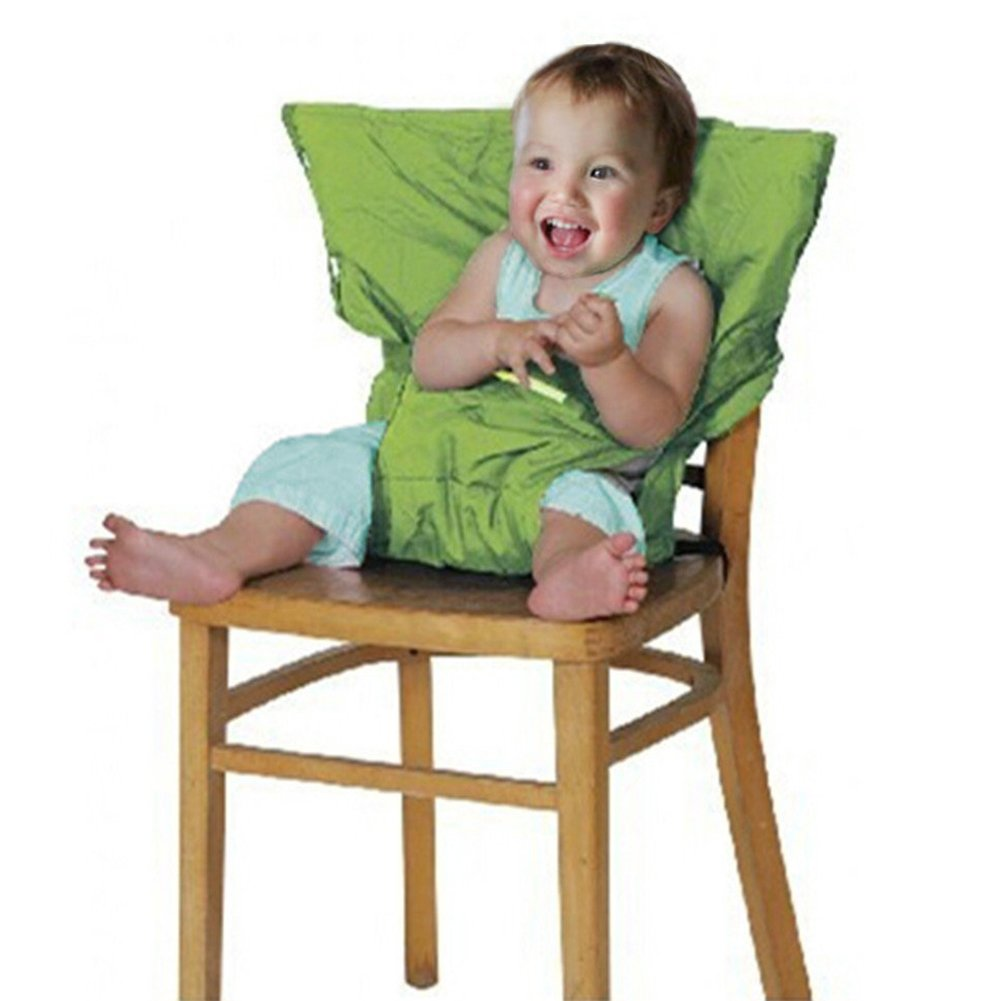 Baby Portable High Chair Seats Cover Safety Harness Toddler Foldable Safety Sack Belt Green