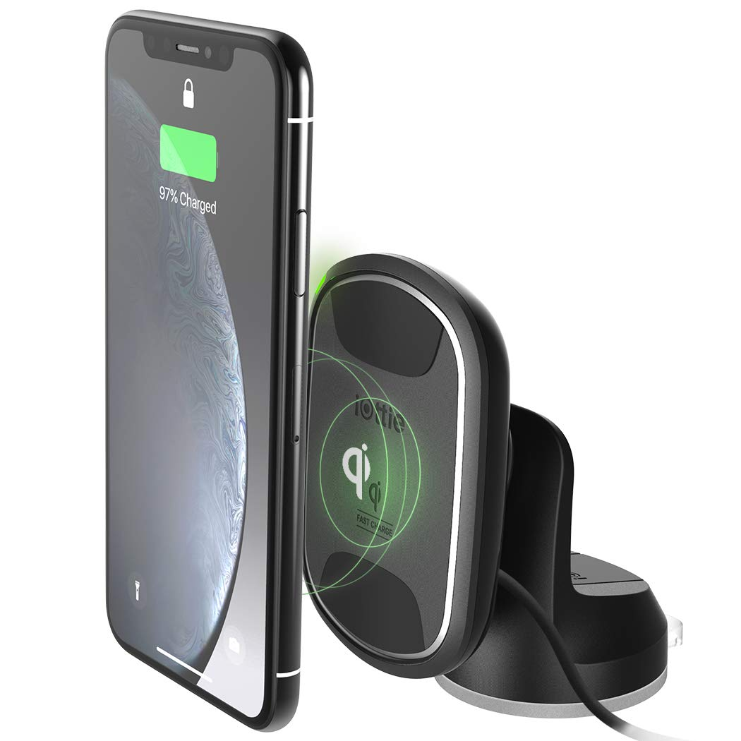 iOttie iTap 2 Wireless Magnetic Qi Wireless Charging Dashboard Mount || Compatible with iPhone Xs XR X Max Samsung S10 S9 + Smartphones | + Dual Car Charger