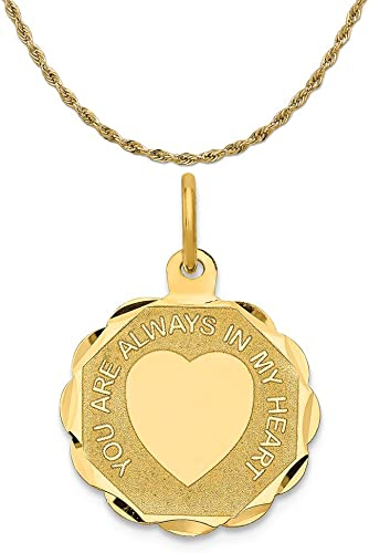 14K Yellow Gold You are Always in My Heart Charm Pendant