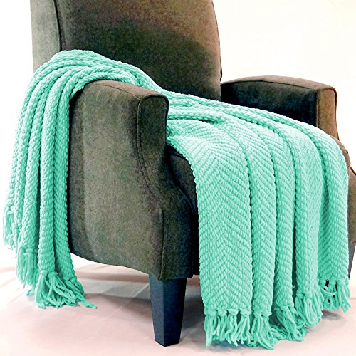 Home Soft Things Boon Knitted Tweed Throw Couch Cover Blanket, 50 x 60, Bay
