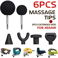 Jigsaw massage-adapter en bits, 6 stuks percussie-massagetips met 2 stuks rods voor Jigsaw massage-adapters Attachment Worx