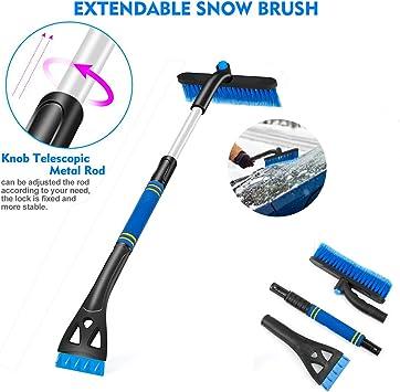 SEG Direct Cepillo de Nieve para Auto con Rascador de Hielo y Mango Extensible