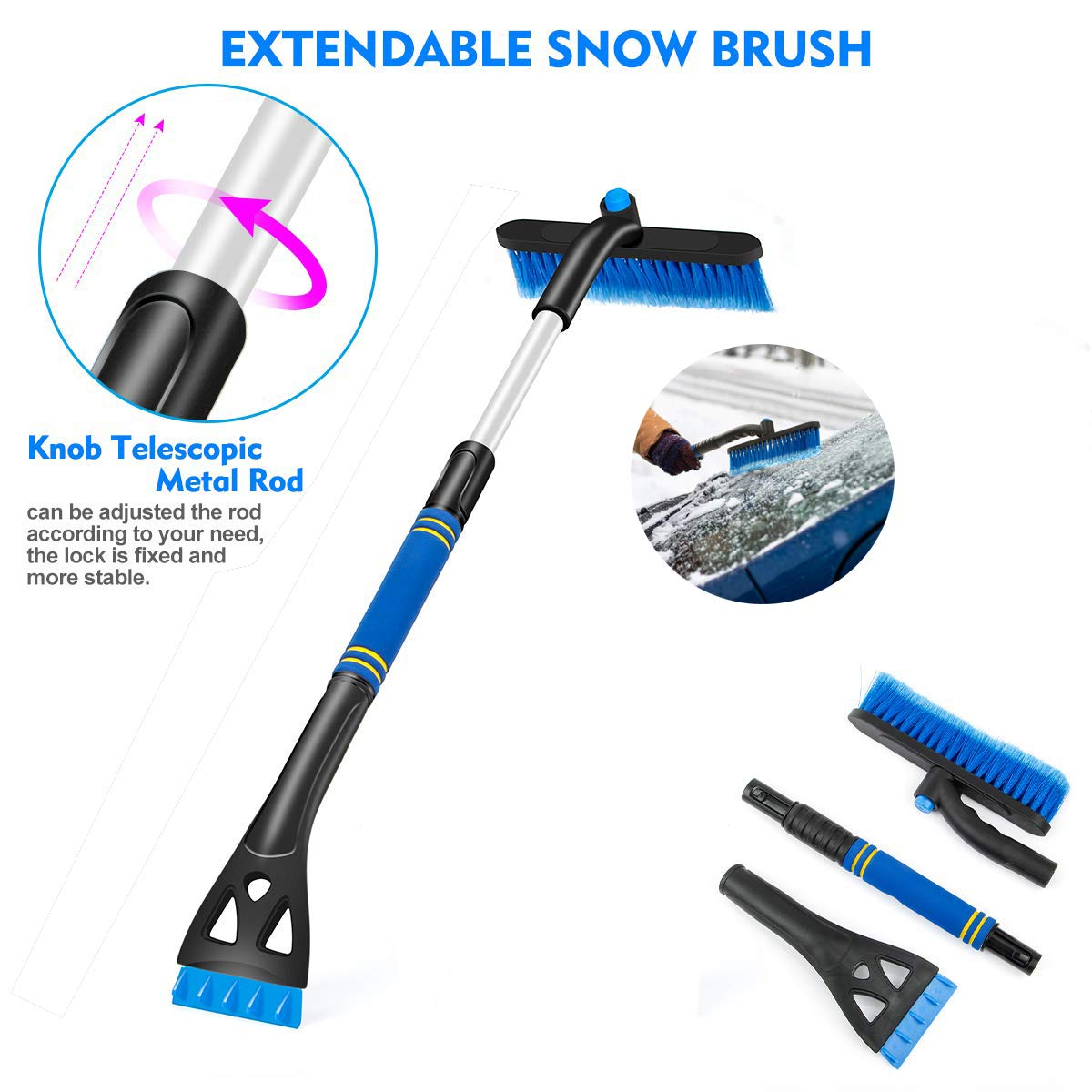 No Scratch Winter Car Snow Cleaning Tool For Car Automotive Truck SUV Windshield Windows Car Snow Brush 360/° Extendable Snow Remover with Ice Scraper /& Foam Grip Detachable Snow Ice Removal