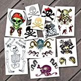 tattoos removable pirates - Halloween Pirate Pack Temporary Tattoos | Skin Safe | MADE IN THE USA| Removable