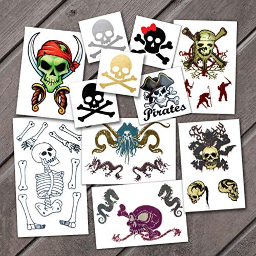 Halloween Pirate Pack Temporary Tattoos | Skin Safe | MADE IN THE USA| Removable -