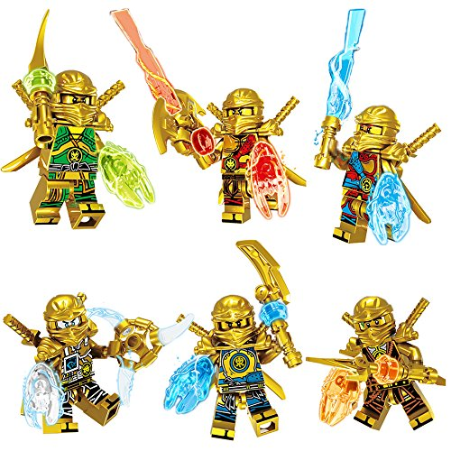 6 IN 1 Gold Ninjagoed Action Figures Weapon Model Building Blocks Bricks Kids Best Gift Baby Toys Compatible with LegoINGLYS -