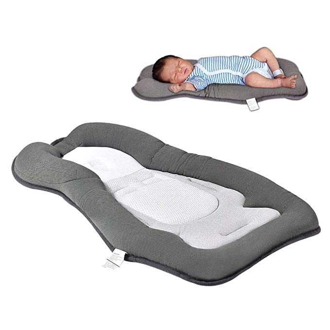 XMWEALTHY Portable Head Support Pillow Newborn Lounger Comfortable Baby Bed Sleeping Pillow for Infant Prevent Flat Head Sleep Positioning for 0-6M Newborns Blue
