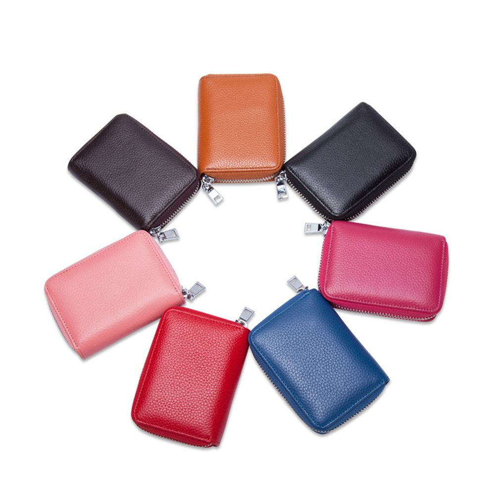 Credit Card Case Organizer Holder Genuine Leather Zip Security Card Bag Brown