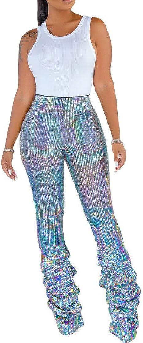 VITryst Women's Body-Con Shiny Bootcut Sexy Metallic Clubwear Pleated Trousers Pants