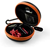 HiGoing Headphone Case, Small Workout Waterproof Travel Carrying Case Portable EVA Hard Protective Earbuds Cases with Buckle, Orange