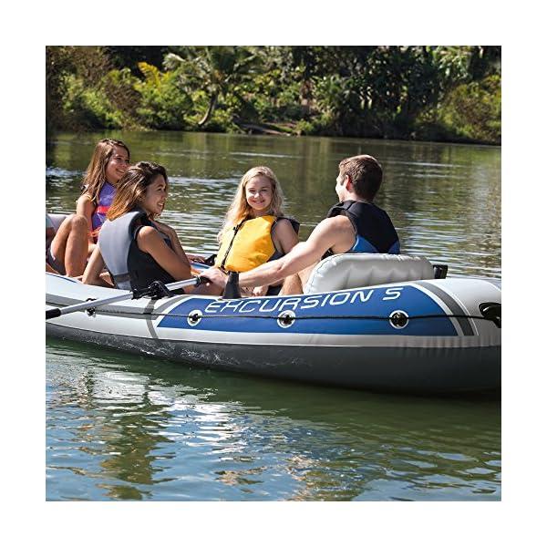 Intex Excursion 5 Set Schlauchboot - 366 x 168 x 43 cm - 4-teilig - Grau / Blau