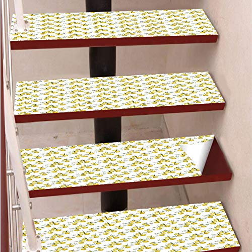 3D Print Non-Slip PVC Stair Pads,Self-Adhesive Steps Sticker,Staircase Treads Protector,Lemon Tree Branches Agriculture Kitchen Lemonade Citrus Figure Graphic Art,for Home Decoration(9.8X39 inch) Set