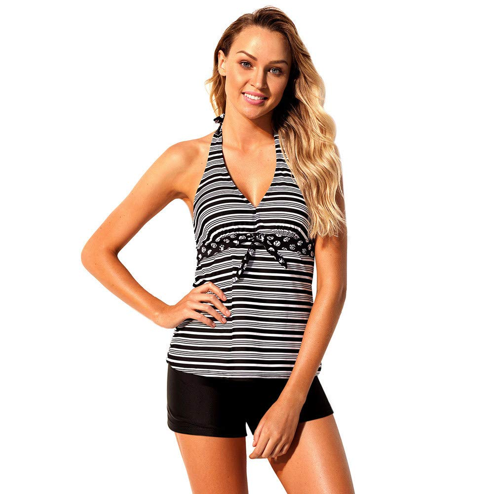 Black Patterns XL Swimsuits for Women Neckline Low Cut Tankini with Strings Decorations Backless Mid Waist Flat Pant TwoPieces Sexy Bikini