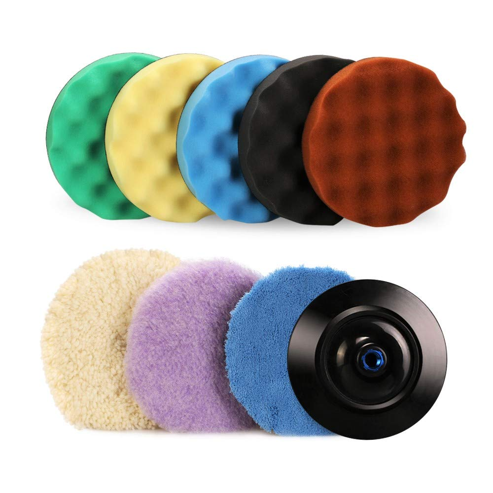 "SPTA 7''/180mm Polishing Buffing Pad Kit with 5 Waffle Foam 1 Wool Grip Pad and a 5/8"" Threaded Polisher Grip Backing Plate for Car Buffer Polisher Sanding,Polishing, Waxing"