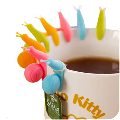 Newness 10/50pcs Cute Snail Shape Silicone Tea Bag Holder Cup Mug Candy Colors Gift Set: Kitchen & Dining