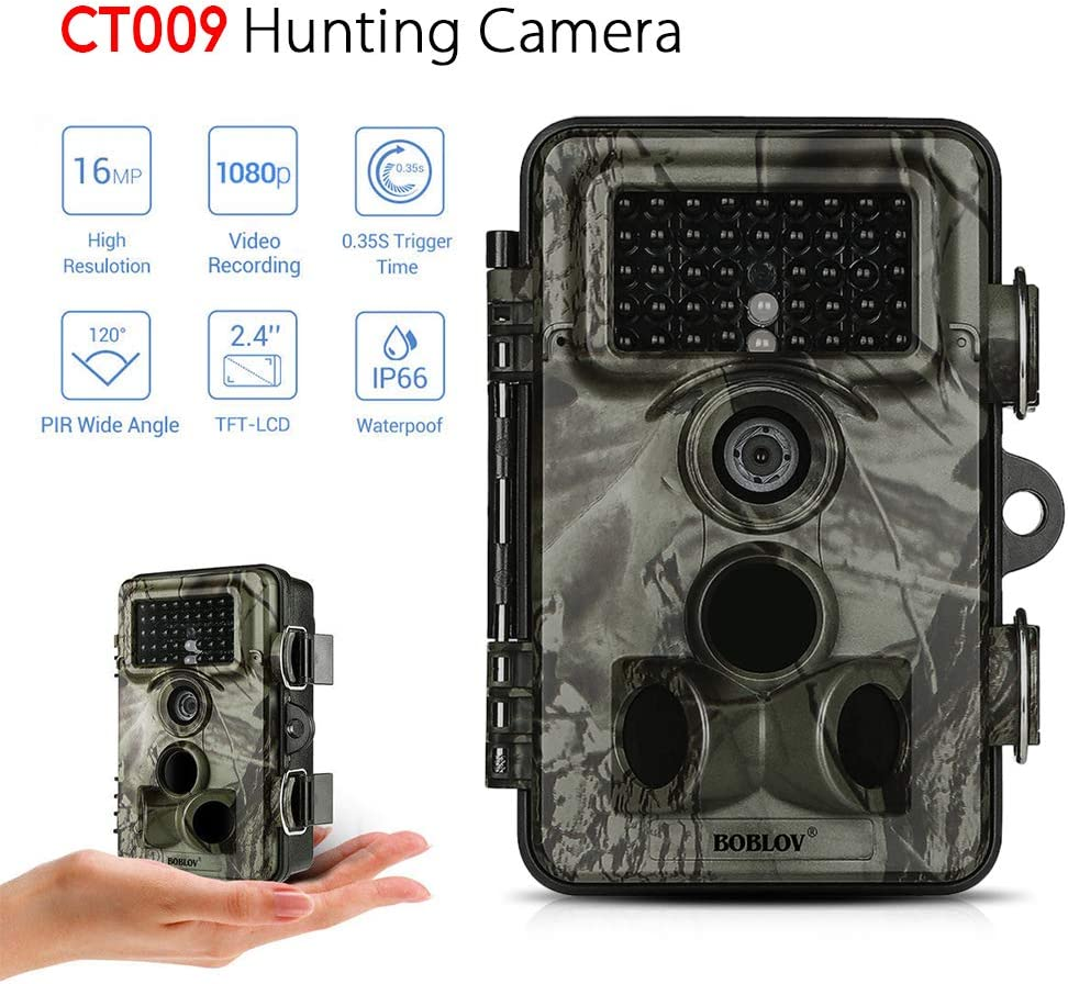 Lixada 16MP 1080P Fotocamera da Caccia//Schermo LCD da 2,4 Pollici+Alta Definizione+Visione Notturna a Infrarossi+Sensore PIR+IP66 Impermeabile,Telecamera per Esterni//Telecamera da Trail//Nero