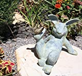 12″ Long Aluminum Hare Rabbit Laying With Bird Buddy Decorative Outdoor Statue