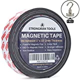 "Strongman Tools Magnetic Tape Roll 1"" x 10 Feet, 2mm Thick, FREE 25LBS MAGNETIC HOOK! Genuine 3M Adhesive Backing, Extra Thick and Non Residue"