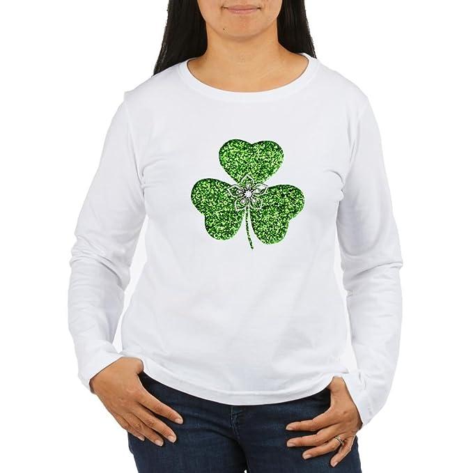 fcb5d064e CafePress - Glitter Shamrock with A Flower Long Sleeve T-Shirt - Women's  Long Sleeve